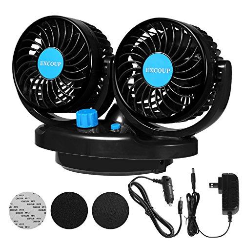 EXCOUP Auto Ventilator 12V für Das Armaturenbrett 360 Grad drehbar für Zwei Personen gleichzeitig doppelter Car Fan (Volt Ventilator 12 Kleinen)