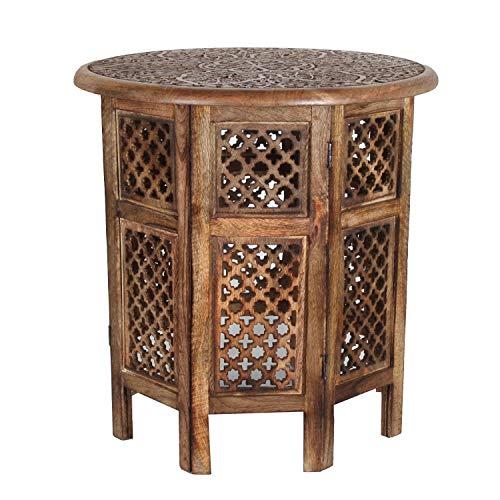 Orientalischer Beistelltisch Hamza Ø 52 cm rund H 54 cm aus Mango Massivholz braun | Kunsthandwerk | Handmade Couchtisch Vintage Sofatisch | NH-5326-A (Mango-holz-tisch)