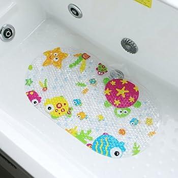 Salinka Tapis de bain antid/érapant pour douche et baignoire pour b/éb/é enfants Rouge SANS phtalates SANS plomb Fabriqu/é en caoutchouc naturel durable et r/ésistant