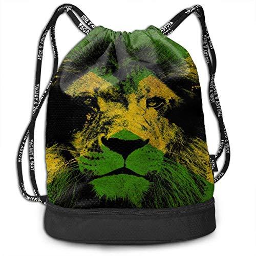 NasNew Jamaican Kingdom Flag Lion Outdoor Bundle Backpack Drawstring  Backpack Bags Sport Gym Sack Bag for Men/Women And Kids