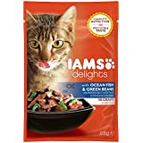 Iams Delights Adult Fisch & Bohnen, Nassfutter für erwachsene Katzen, Probiergröße, Einzelbeutel (85 g)