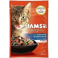 Iams Delights Adult Fisch & Bohnen, Nassfutter für erwachsene Katzen, Probiergröße (1 x 85 g)
