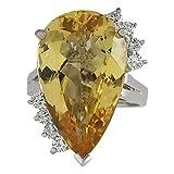 12.5carati naturale Beryl giallo oro bianco 14ct e diamanti anello da cocktail per le donne e Oro bianco, 49 (15.6), colore: Yellow, cod. 703510W-J