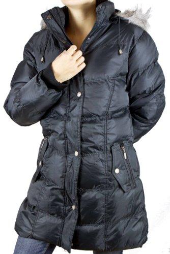 Damen Wintermantel mit Kapuze und flauschigen Teddy Fleece Innenfutter, Farbe Schwarz, Gr. XXXL