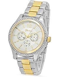 Silver Dial Rhodium Plated Geneva CZ Watch & Two-Tone Gold/Rhodium Band + Jewelry Polishing Cloth