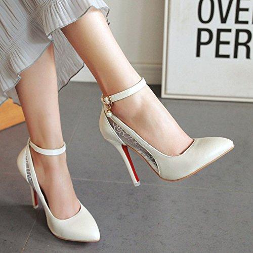 Rete Donna Sexy Bianche Caviglia Scarpe Scarpe Aisun Spose qZF4OS