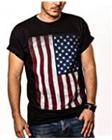 USA Flag T-Shirt for Men UNITED STATES OF AMERICA Black S-XXXL