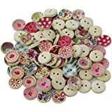 Generic 100Pcs Painted Colors Round Diy Wooden Buttons For Sewing And Crafting