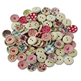 #2: Imported 100Pcs Painted Colors Round DIY Wooden Buttons for Sewing and Crafting-55001326MG