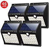 Solarleuchten Außen, Yacikos 46 LED Solarlampen für Außen mit Bewegungsmelder Solar Beleuchtung Wasserdichte Wandleuchte Solarlicht Aussen 1800mAh mit 3 Modi für Garten, Wände [4 Stück]
