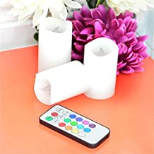 Xinji Color–cambiar de cera sin llama vela con temporizador y mando a distancia, conjunto de 3