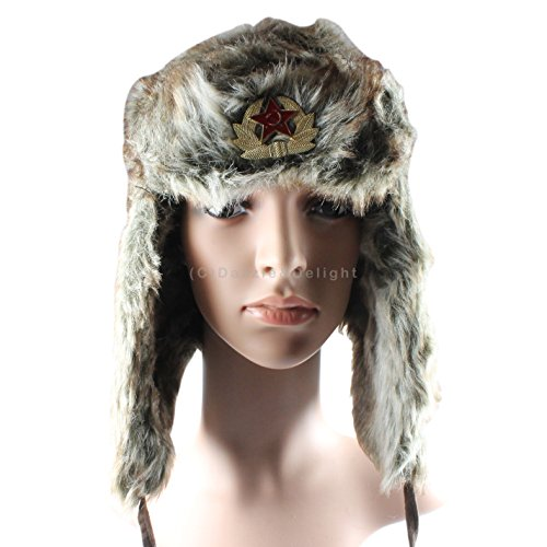 Two Tone Brown Russian Trapper Hat Russian Cossack Ski Hat Warm Winter