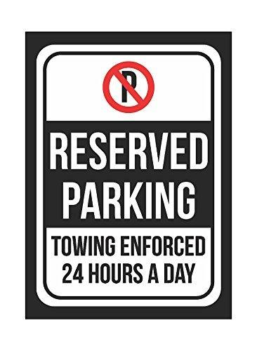 RESERVED PARKING-durchgesetzt 24Stunden am Tag schwarz drucken Kunststoff 8x 12kleine Zeichen–Der Schilder