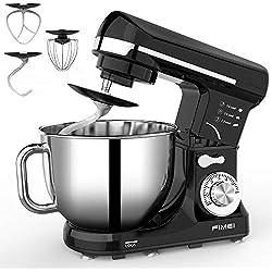 Robot Pâtissier, FIMEI Robot de Cuisine Multifonction 1000W avec Crochet en céramique, 6 Vitesses avec protection anti-éclaboussures détachable, Bol 5L en acier inoxydable avec poignée, MK-37(Noir)