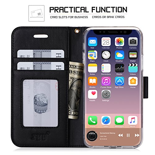 iPhone 8 case, iPhone 8 cover, Fyy Premium in vera pelle, 100% fatto a mano in foglio di [cavalletto funzione] con carta d identità e schermo per Apple iPhone 8 C-Pattern-27 A-Black