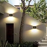 XHX Wandleuchte, Led Modern Style Außenwandleuchte Silbergrau Aluminiumgehäuse Wandbeleuchtung Wasserdicht Up/Downlight Außen Innenflur Terrasse Treppe Balkon Zaun Garten 6W Warmweiß