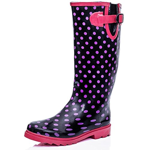 Flat Festival Wellies Wellington Knee High Rain Boots Black UK 5