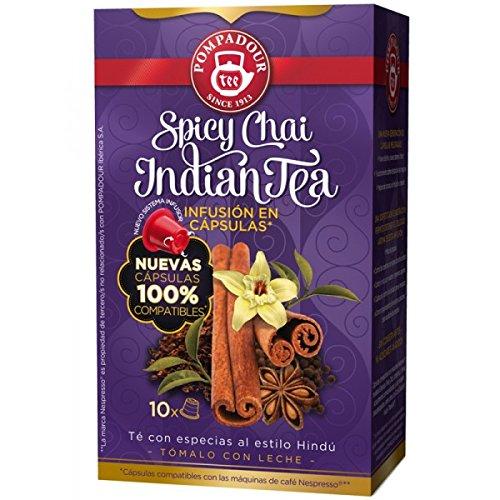 Get Nespresso Compatible TEA Capsules - SPICY CHAI INDIAN TEA = 4 x 10 Caps (TOTAL = 40 caps) by POMPADOUR Ibérica, S.A.