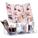ISENPENK Specchio Illuminato per Trucco Triplo, Specchietto Comestico Pieghevole a 21 Luci LED Incorporate, 3X, 5X Ingrandimento Luminosità Regolabile Rotazione 180° con Base di Organizzatore Makeup