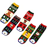Damen Maedchen Stricken Socken Baumwolle Weihnachten schicke Damensocken mit Kartoon Muster 5 Paare Mehrfarbig