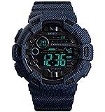 SKMEI Digital Men's & Boys' Watch (Black Dial Blue Colored Strap)