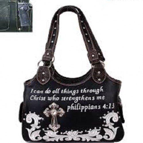 Texas West Frauen Bibel-Vers Kreuz Flora Kuh Handtasche Medium Schwarz