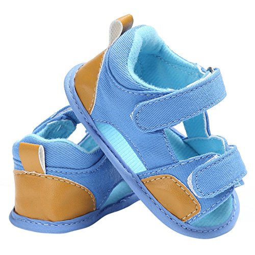 MiyaSudy Baby Schuhe Jungen Canvas Weiche Alleinige Antibeleg Beiläufige Sandelholze Lauflernschuhe Krabbelschuhe Prewalker Hellblau