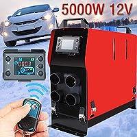 StageOnline 12V 5KW Calefactor de estacionamiento, Monitor LCD de 4 Orificios con Control Remoto Calefactor de Aire diésel para Camiones, caravanas, vehículos de Camping, Botes y campistas