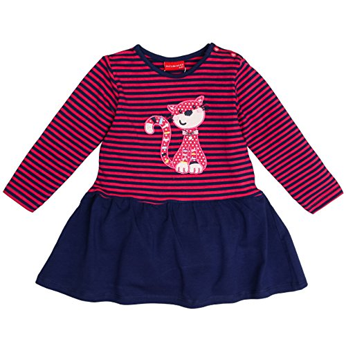 SALT AND PEPPER Baby-Mädchen Kleid B Dress Funny Stripes Katze, Rosa (Magenta Melange 861), 74