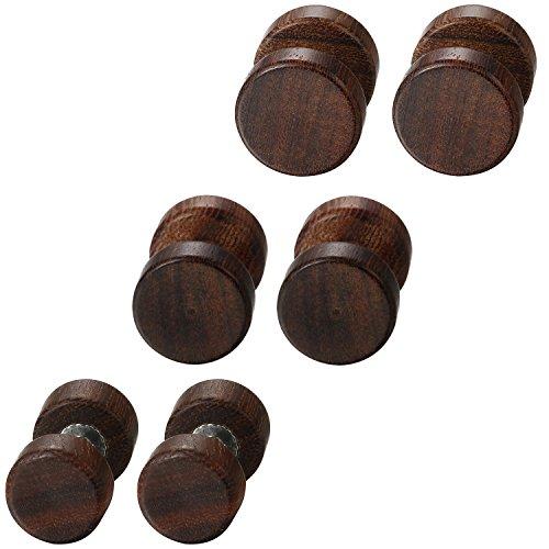 Flongo Holz Ohrstecker Knopf Männer Frauen Ohrringe, 6 Stück Holz Ohrstecker Gestüt Stecker Ohrringe Braun Fake Plug Tunnel Ohrstecker Piercing Ohrschmuck