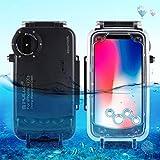 TianranRT TianranRT Für iPhone X/XS 5,8 Zoll Tauchen Telefon Schutzhülle Hülle Wasserdicht Schwimmen Tauchen Shell (Schwarz)