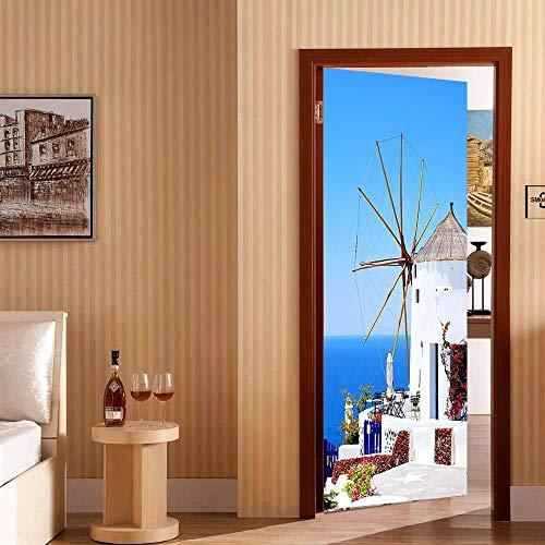 WSDDSB 3D Tür Aufkleber Türwandbild 80X200 Cm Küste Kabine Pvc Selbstklebende Tür Wandaufkleber Home Wohnzimmer Schlafzimmer Hotel Thema Tür Hintergrund Dekoration (Dekoration Thema Kabine)