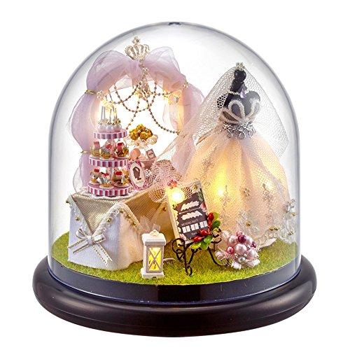 XLORDX Puppenhaus Bausatz Holz Modell Set, Hochzeit Braut Kuchen, Spielzeug für Kinder, Mini Diorama Handgefertigt mit Staubschutz und Licht Zubehör Blumen Haus für Jungen und Mädchen zum Spielen Miniatur Kreativ Geburtstag Weihnachts Hochzeits Geschenk (Miniatur-licht-set)