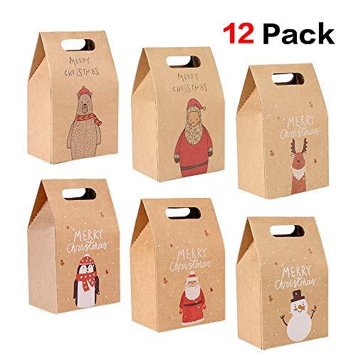Howaf 12 pezzi scatole regalo di natale, natale sacchetti di carta per bomboniere natalizie, caramelle, alimentari, biscotti, 2.4