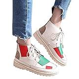 OSYARD Damen Laufschuhe Atmungsaktiv Schnürer Fitness Sneaker Low-Top Boots Leder Frauen Hip-Hop Shoes Bequeme Plattform Flache Turnschuhe Freizeitschuhe Sportschuhe(245/40, Weiß)