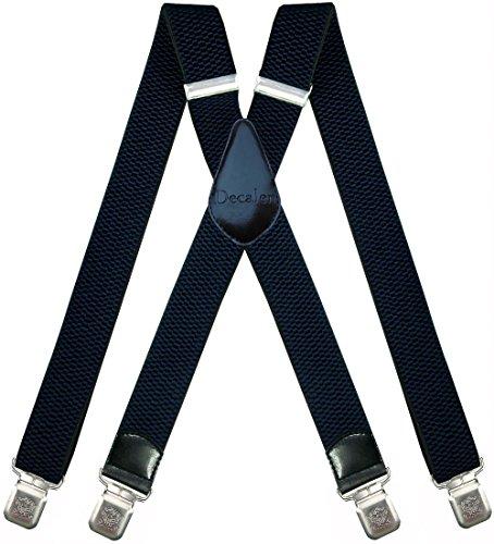 Hosenträger für Herren breit extra starken 4 cm mit 4er Clips X-Form lange für Männer und Damen Hose (Dunkelblau)