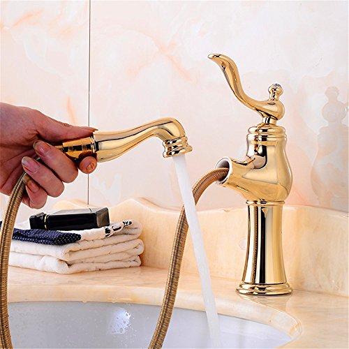 LIYJG Becken Wasserhahn Goldene Heiße Und Kalte Wasser Kupfer Wasserhahn Jade Titan Wasserhahn (590 Ziehen)