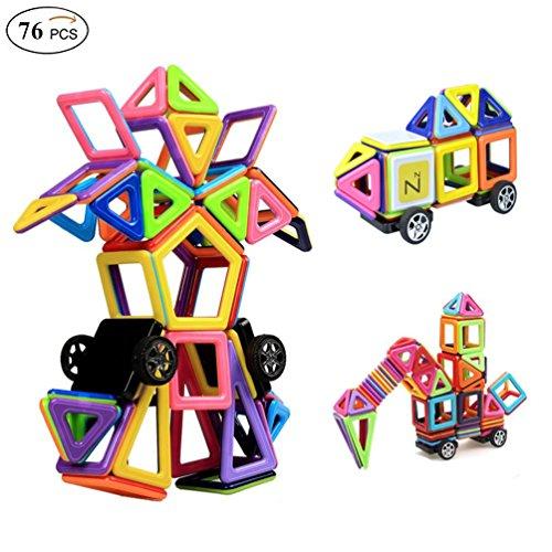 Magnetische Bausteine,Ausear 76tlg Mini Pädagogische Bausteine Sets, Magnetische Bausätze Spielzeug für 3 Jahre Alte Jungen und Mädchen (Drei Jahre Alten Jungen)
