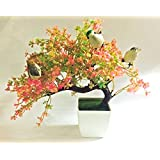 Hyperboles Bonsai Wild Plant Artificial Plant(Pink) With Pot