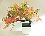 #7: Hyperboles Bonsai Wild Plant Artificial Plant(Pink) with Pot