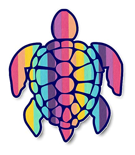 Sea Turtle Rainbow Seersucker Pattern Vinyl Decal Sticker for Laptop Book Fridge Guitar Car Motorcycle Helmet Toolbox Luggage Cases 6 Inch In Width Hand-seersucker