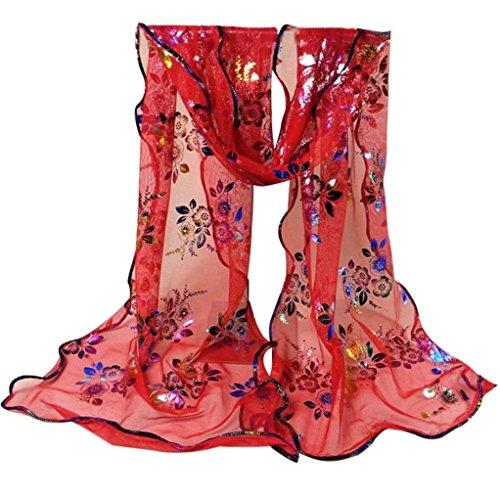 Koly Femme Vintage Foulard Etole Dentelle Mousseline de soie Voile Rouge
