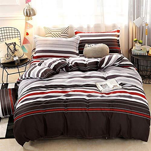 Rosa Und Brown Twin Bettwäsche (UOUL Bettwäsche Set Baumwolle 4 Stück Atmungsaktiv Komfort Geeignet Für Jugendliche Kinder Erwachsene Schlafzimmer Streifenmuster Rosa 1.8x2.2m,Gray Brown,Twin)
