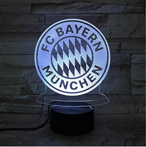 Fc Bayern München Fußball Team Club Logo Usb 3D Led-Nachtlicht Jungen Kind Kinder Fans Geburtstagsgeschenke Fußball Schreibtischlampe Schlafzimmer
