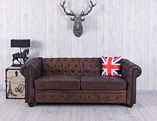 Chesterfield Sofa XXL Couch 200cm Eco Leder Polstersofa Vintage Palazzo Exklusiv