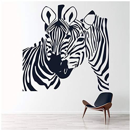 azutura Zwei Zebras Wandtattoo Safari Tiere Wand Sticker Kinderküche Leben Wohnkultur verfügbar in 5 Größen und 25 Farben Extraklein Licht Orange -