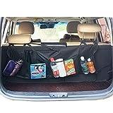 DaKi Auto-Regale zum Aufhängen, Organizer, Rücksitztasche, Aufbewahrungstasche für große Kapazität, Kofferraum, mehrere Taschen, zum Aufhängen, Netz-Aufbewahrungstasche (3 Farben) Schwarz