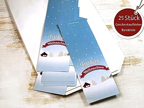 25 Stück große Geschenkaufkleber Banderole Fröhliche Weihnachten Advent 5 x