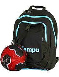 Kempa–Mochila infantil de balonmano Negro/skyblau Incluye Red de 40x 35x 20cm, 20L