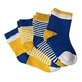 Auxma 4 Paar Socken,Baby Socken Kindersocken,Farbstreifen, für 0-6 6-12 12-24 Monat (S 0-6M)